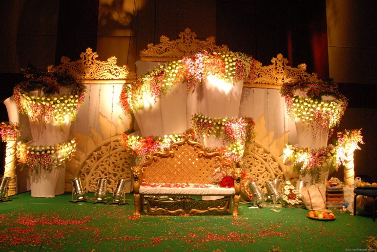 Top 5 indian wedding stage decorations bookingevents booking events wedding stage with pink rose outdoor simple wedding stage indian wedding stage decorations pics junglespirit Gallery